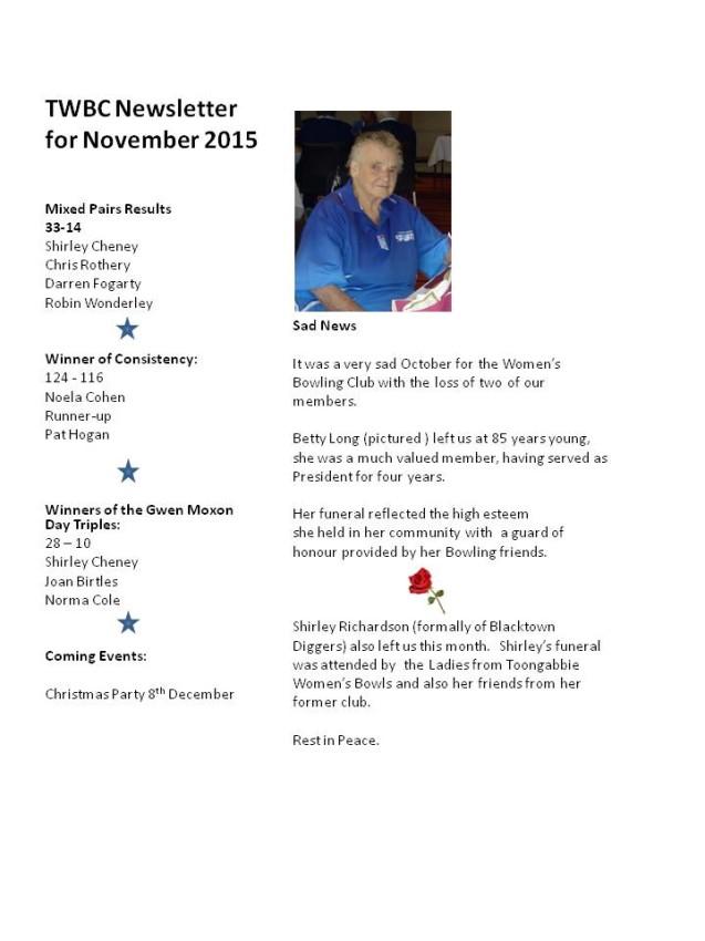 November News Womens Bowling Club